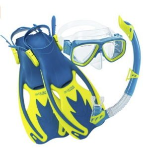 mask, snorkel and flippers for snorkeling