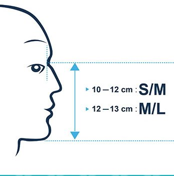sizes of tribord Easybreath snorkel mask